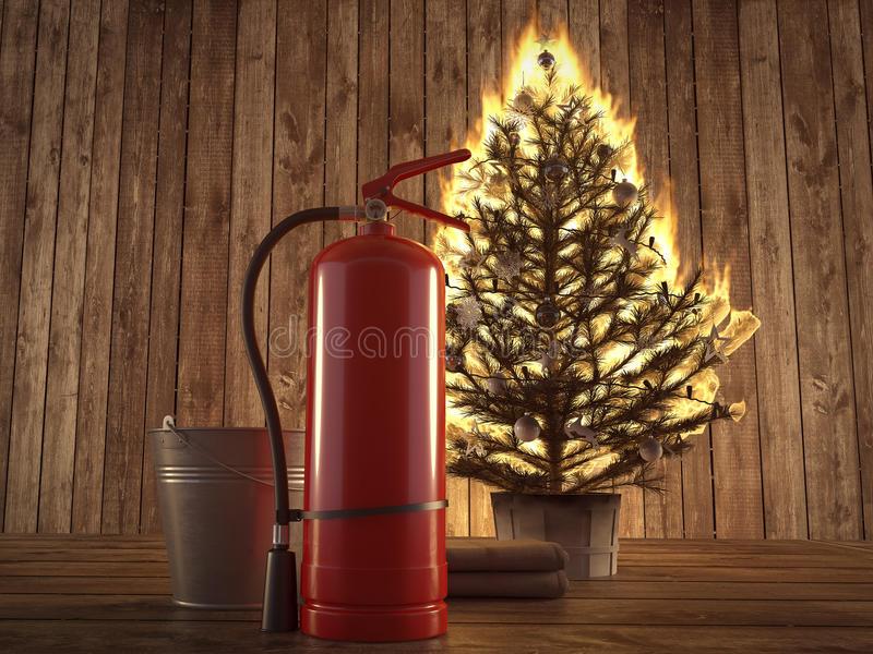 brennender-weihnachtsbaum-mit-löscher-und-eimer-dazu-wiedergabe-d-79476785